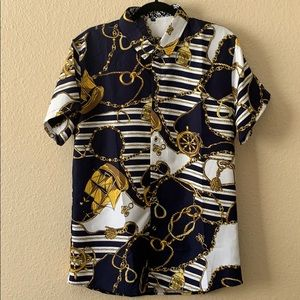 Men's Gold and Blue Chain Dress shirt